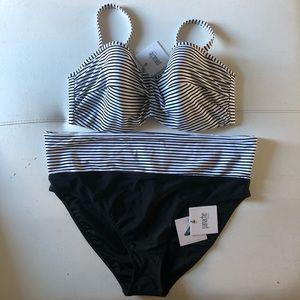 Panache 40E Striped Bikini Top & Bottoms